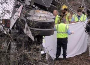 Two men suffered fatal injuries in the truck accident and were pronounced dead