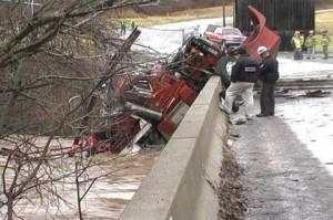 Accident scene of semi truck that crashed over a bridge into Sugar Creek in Burlington Township, PA. Photo credit: Star-Gazette, Elmira, NY