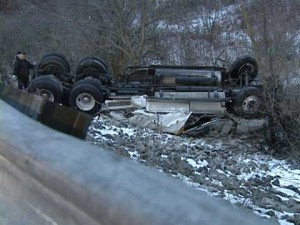 Semi truck accident near Ft Wayne, Indiana caused by ice slick roads.