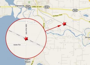 Location of the train and truck accident at the rail crossing at 48th Avenue NW in Stanwood, Washington