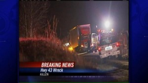 The trailer truck crossed over the highway, left the road and plunged down a 150 foot embankment.
