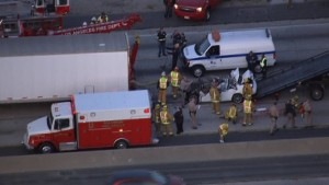 California Highway Patrol and Los Angeles emergency personnel responded to the scene of the deadly truck accident. The driver of the car suffered fatal injuries in the rear end collision and was pronounced dead at the scene.