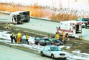 After hitting the tractor trailer truck, Ms. Miller's car then skidded toward the highway median, across all southbound lanes of US 41.