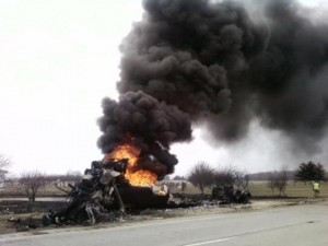 Authorities with the Erie Township Fire Department decided that in order to prevent an environmental hazard to the area they would let the 8,500 gallons of gasoline burn off on its own.