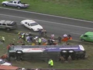 The bus, which was headed to Matamoros, Mexico, flipped and landed on its right side