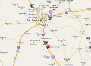Location of bus crash near Campbellton, Texas, 45 miles south of San Antonio.