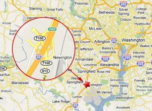 Location of semi truck accident on I-95 about 14 miles south of Washington D.C.