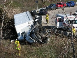 Spring Lake/Ferrysburg Police had to shut down the US 31 exit ramp for several hours after the truck accident. A crane was brought in and crews worked to put the semi trailer truck back upright and clear the exit ramp for traffic.