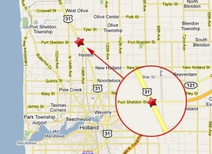 Location of semi truck crash at the intersection of U.S. Route 31 and Port Sheldon Street.
