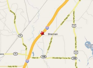 Location of semi truck collision with MDOT dump truck on northbound Interstate 95 near Sherman, Maine.