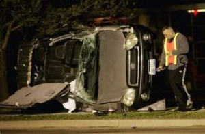 The driver of the SUV was trapped in his vehicle after the truck accident and local firefighters would work for more than 20 minutes to extricate him