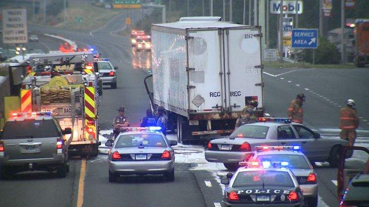 Chain Reaction Truck Accident Spills Diesel Fuel on CT
