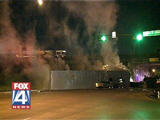 Semi Truck Crashes and Burns on I-635 in Dallas Texas - Truck