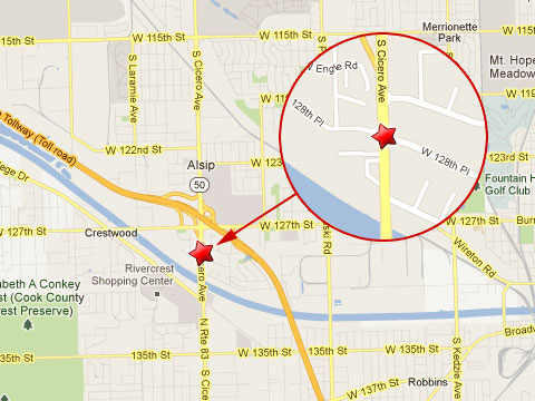 Map showing location of semi truck accident on Cicero Ave and 128th Place where two people were critically injured in Alsip, IL on January 12, 2013.