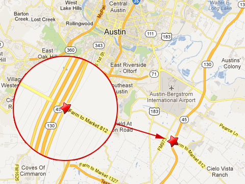 Map showing location of a fatal accident between a garbage truck and a pickup truck on the State Highway 130 service road at Farm to market 812 about 12.6 miles southeast of Austin, TX on February 22, 2013.