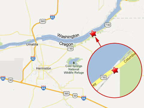 Map showing location of tanker truck and train accident in Hermiston, OR on State Highway 730 near the Washington border on February 25, 2013.