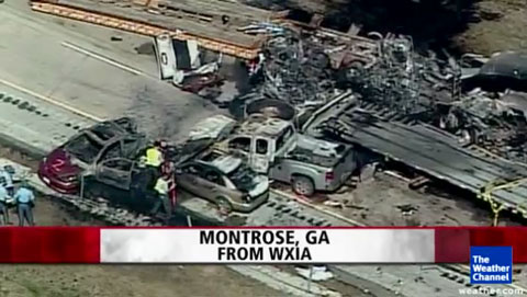 Several tractor trailers were involved in a fatal chain reaction accident that left 4 people dead on I-16 near Montrose, GA on February 6, 2013. Photo credit: The Weather Channel