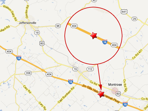 Map showing location of fiery semi truck crash that killed 4 people on the westbound I-16 just outside Montrose, GA on February 6, 2012.