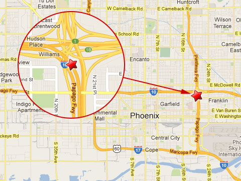 """Map showing location of semi truck crash in Phoenix, AZ where a load of coffee creamer was spilled jamming traffic for hours at the """"Mini Stack"""" exchange of the I-10 where it connects to State Route 51 and Loop 202 on February 13, 2013."""