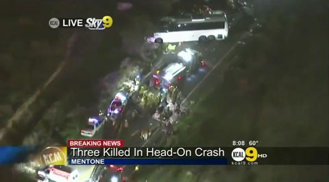 Photo shows tour bus accident near Yucaipa, California Feb. 3, 2013