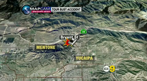 Map shows location of bus accident on Feb, 3, near Yucaipa, California.