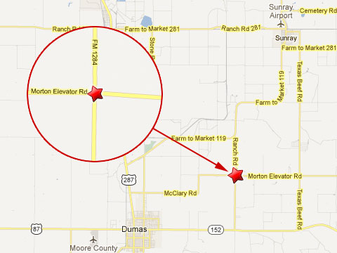 Map showing location of fiery semi truck crash that killed 5 teens in Dumas, TX at the intersection of Farm to Market 1284 and Morton Elevator Rd on March 10, 2013.