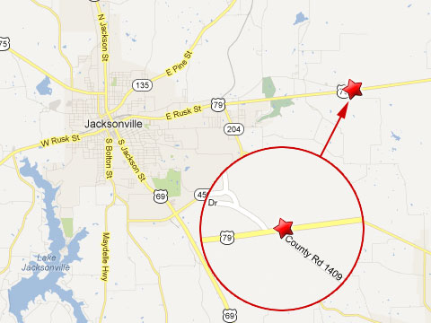 Map showing location of fatal semi truck accident in Jacksonville, TX on U.S. Highway 79 and County Road 1409 on March 16, 2013.