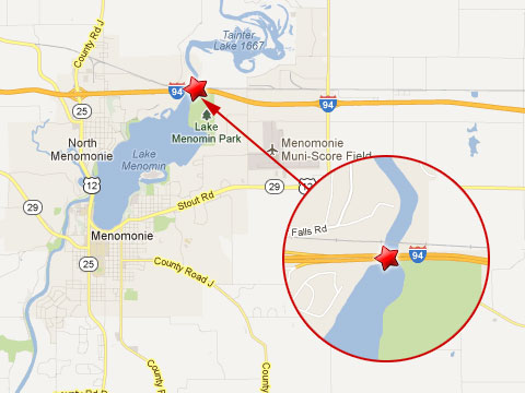 Map showing location of a semi truck crash in Menomonie, WI on the westbound I-94 on a bridge over the Red Cedar River near the Wisconsin 25 interchange on March 5, 2013.
