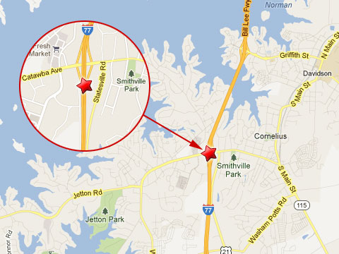 Map showing location of a tractor trailer crash on the northbound I-77 at the Catawba Ave exit in Cornelius, NC on April 17, 2013.