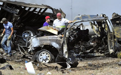 Three people in a southbound pickup truck were killed on U.S. Highway 83 on March 21, 2013 just north of Eden, TX when they drifted into the path of a northbound semi truck. Photo credit: Kimberley Meyer/Standard-Times