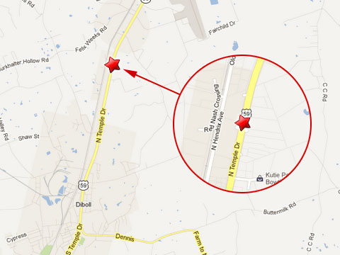 Map shows location of fatal semi truck accident in Diboll, TX in the 1600 block of N Temple Dr just outside the Diboll Depot Center on May 13, 2013.