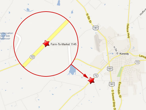 Map shows location of a fatal crash of a Honda with an 18 wheeler at Farm to Market 1145 and Texas State Highway 72 in Kenedy, TX on May 20, 2013.