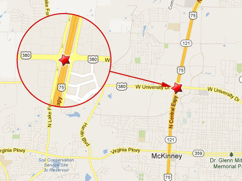 map showing location of a semi truck accident on the southbound u s 75 at highway 380