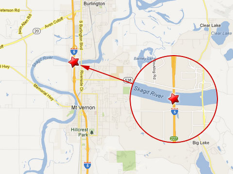 Map shows location of a bridge collapse on May 23, 2013 after a semi truck accident in Mount Vernon, WA where the I-5 spans the Skagit River.