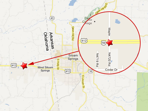 Map shows location of a semi truck crash with a cement truck on the eastbound U.S. 412 two miles from the Arkansas State Line in West Siloam Springs, OK on May 6, 2013.