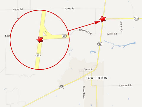 Map shows location of fatal semi truck crash at the intersection of Texas State Highways 97 and 72 in Fowlerton, TX on June 19, 2013.