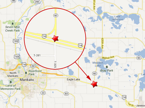 Map shows location where two semi trucks crashed at the intersection of U.S. Highway 14 and Minnesota State Highway 60 about 10 miles outside Mankato, MN on June 10, 2013.
