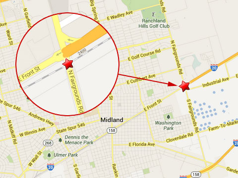 Map shows location of fatal semi truck accident with a train in Midland, TX near the 2300 block of Front St at the Fairgrounds Rd rail crossing on June 3, 2013.