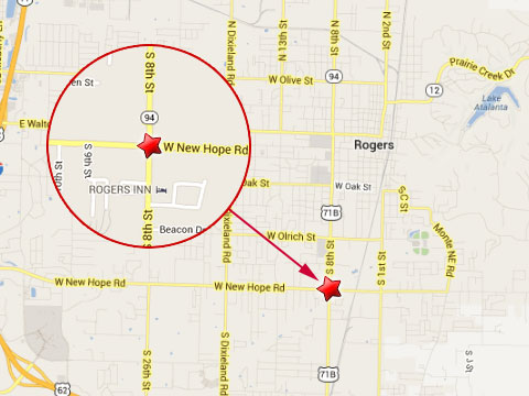 Map shows location of a semi truck accident that caused a fuel spill at New Hope Rd and 8th St in Rogers, AR on June 13, 2013.