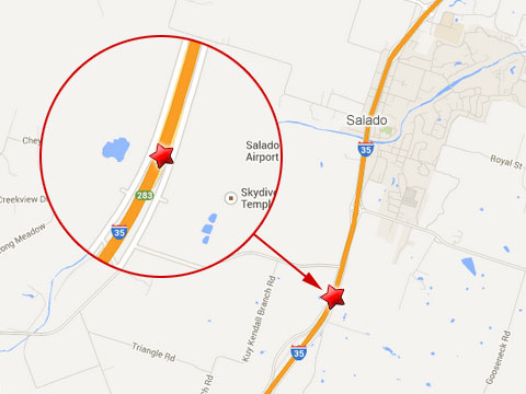 Map shows location of a semi truck accident on the northbound I-35 in the south of Salado, TX on July 17, 2013.
