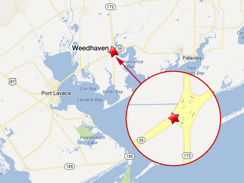 Map shows location of semi truck accident in Weedhaven, TX at the intersection of State Highways 35 and 172 on July 3, 2013.