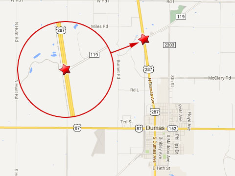Map shows location of fatal semi truck accident at Farm to Market 119 and U.S. Highway 287 about 3 1/2 miles north of Dumas, TX on August 12, 2013.