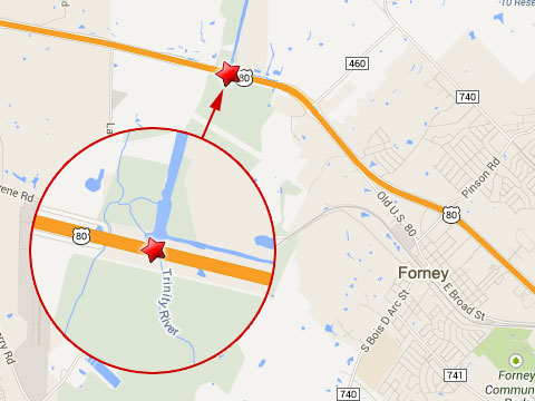 Map shows location of fiery semi truck accident on the Trinity River bridge on the eastbound U.S. Highway 80 in Forney, TX on August 2, 2013.