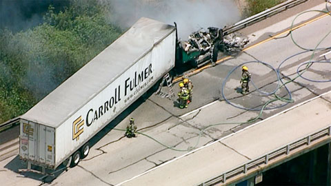 A tractor trailer overturned and caught fire on the Trinity River bridge on U.S. Highway 80 in Forney, TX on August 2, 2013. Photo credit: KTVT/KTXA