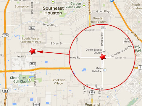 Map shows location of fatal semi truck accident in Houston, TX on August 22, 2013 on Almeda Genoa Rd near Cullen Blvd.