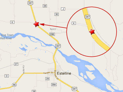 Map shows location of semi truck accident and hazardous chemical spill on U.S. Highway 287 at County Road K north of Estelline, TX on September 8, 2013.