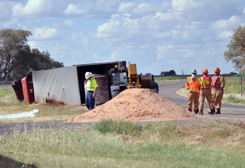 A semi truck hauling a hazardous chemical turned over and spilled on U.S. Highway 287 at County Road K just north of Estelline, TX on September 8, 2013.
