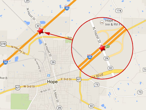 Map shows location of a semi truck crash on the westbound I-30 at the Hazel St overpass in Hope, AR on September 7, 2013.