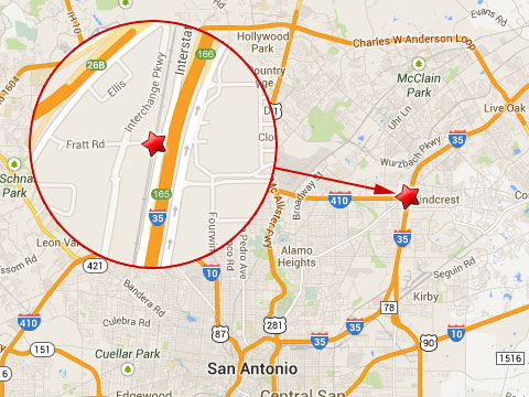 Map shows location of fiery semi truck crash with a Union Pacific train at the Fratt Rd rail crossing next to I-35 in San Antonio, TX on August 27, 2013.