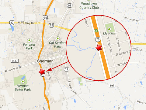 Map shows location of a semi truck accident on the southbound I-75 near Exit 57 (mile marker 57) in Sherman, TX on September 5, 2013.
